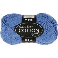 Cotton Yarn, no. 8/4, L: 170 m, blue, 50 g/ 1 ball