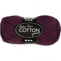 Cotton Yarn, no. 8/4, L: 170 m, plum, 50 g/ 1 ball