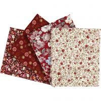 Patchwork Fabric, size 45x55 cm, 100 g, claret, 4 pc/ 1 pack