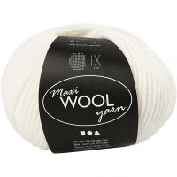Wool yarn, L: 125 m, off-white, 100 g/ 1 ball