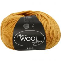 Wool yarn, L: 125 m, dark yellow, 100 g/ 1 ball