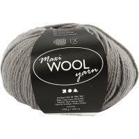 Wool yarn, L: 125 m, grey, 100 g/ 1 ball