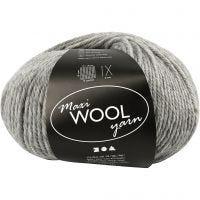 Wool yarn, L: 125 m, grey mixture, 100 g/ 1 ball