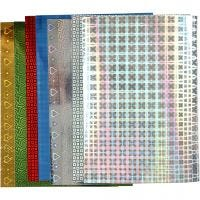 Holographic Paper, A4, 210x297 mm, 120 g, 8 ass sheets/ 1 pack