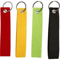 Key Chain, size 3x15 cm, black, green, red, yellow, 4 pc/ 1 pack