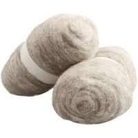 Carded Wool, natural, 2x100 g/ 1 pack