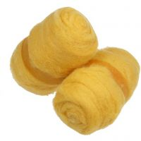 Carded Wool, yellow, 2x100 g/ 1 bundle