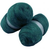 Carded Wool, green, 2x100 g/ 1 pack