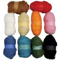 Carded Wool, assorted colours, 10x25 g/ 1 pack
