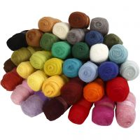 Carded Wool, assorted colours, 35x100 g/ 1 pack