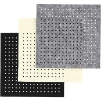 Craft Felt with Holes, size 20x20 cm, thickness 3 mm, black, grey, off-white, 3x4 sheet/ 1 pack