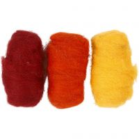 Carded Wool, yellow/terracotta harmony, 3x10 g/ 1 pack