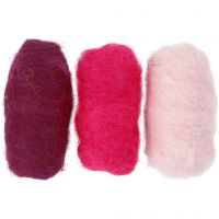 Carded Wool, purple/pink harmony, 3x10 g/ 1 pack