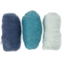 Carded Wool, blue harmony, 3x10 g/ 1 pack