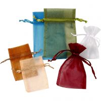 Organza Bags, size 7x10+10x15 cm, assorted colours, 30 pc/ 1 pack
