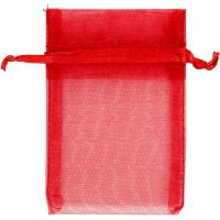 Organza Bags, size 7x10 cm, red, 10 pc/ 1 pack