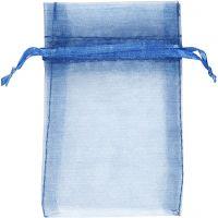 Organza Bags, size 7x10 cm, blue, 10 pc/ 1 pack