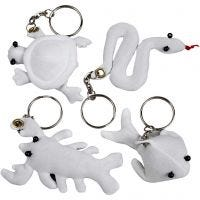 Fabric Figures with key rings, size 4-8 cm, 4 pc/ 1 pack