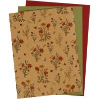 Faux Leather Paper, 21x27,5+21x28,5+21x29,5 cm, thickness 0,55 mm, one coloured,printed, natural, green, red, 3 sheet/ 1 pack