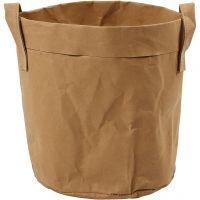 Faux Leather Storage Bag, H: 20 cm, D: 19,5 cm, 350 g, light brown, 1 pc
