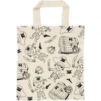 Shopping Bag, pirates, size 27,5x30 cm, 135 g, light natural, 1 pc