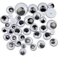 Googly Eyes, sewing, D: 8-20 mm, 250 asstd./ 1 pack