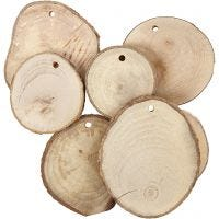 Wooden disc with hole, D: 40-70 mm, hole size 4 mm, thickness 5 mm, 25 pc/ 1 pack
