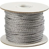 Cord, thickness 2 mm, silver, 50 m/ 1 roll