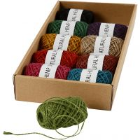 Natural Hemp, thickness 1-2 mm, assorted colours, 10x30 m/ 1 pack