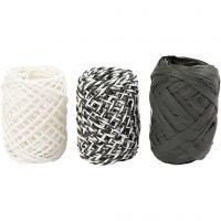 Paper String, black/white harmony, 3x10 m/ 1 pack