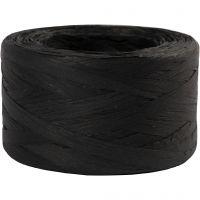 Paper raffia yarn, W: 7-8 mm, black, 100 m/ 1 roll