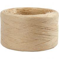 Paper raffia yarn, W: 7-8 mm, sand, 100 m/ 1 roll