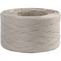 Paper raffia yarn, W: 7-8 mm, light grey, 100 m/ 1 roll
