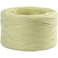 Paper raffia yarn, W: 7-8 mm, light green, 100 m/ 1 roll
