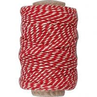 Cotton Cord, thickness 1,1 mm, red/white, 50 m/ 1 roll