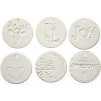 Hanging Ornaments, size 7x7 cm, thickness 0,6 cm, white, 6 pc/ 1 pack