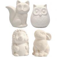Animal Saving Banks, owl, fox, hedgehog, hare, H: 9-10 cm, white, 4 pc/ 1 box