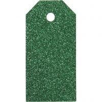 Manila Tags, size 5x10 cm, glitter, 300 g, green, 15 pc/ 1 pack