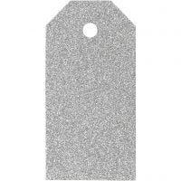 Manila Tags, size 5x10 cm, glitter, 300 g, silver, 15 pc/ 1 pack