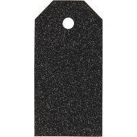 Manila Tags, size 5x10 cm, glitter, 300 g, black, 15 pc/ 1 pack