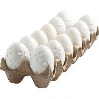 Egg, embossed pattern, H: 6 cm, white, 12 pc/ 1 pack