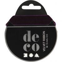 Velvet Ribbon, W: 15 mm, dark purple, 4 m/ 1 roll