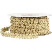 Braided Cord Trim, W: 10 mm, gold, 10 m/ 1 pack