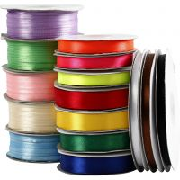 Satin Ribbon, assorted colours, 15 roll/ 1 pack