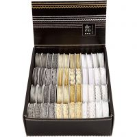 Decorative Ribbon, W: 5-10 mm, gold, silver, white, 48x2 m/ 1 pack