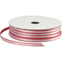 Decorative Ribbon, W: 4 mm, red/white, 20 m/ 1 roll