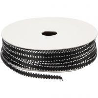 Decorative Ribbon, W: 4 mm, black/white, 20 m/ 1 pack