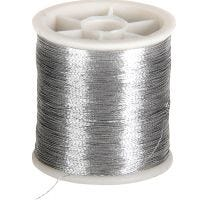 Sewing Thread, thickness 0,15 mm, silver, 100 m/ 1 roll