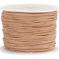Leather Cord, thickness 1 mm, beige, 50 m/ 1 roll