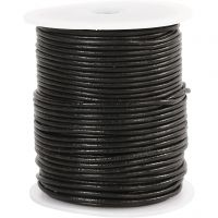 Leather Cord, thickness 2 mm, black, 50 m/ 1 roll
